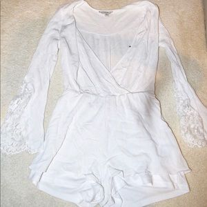 Guess White Small Romper with Lace